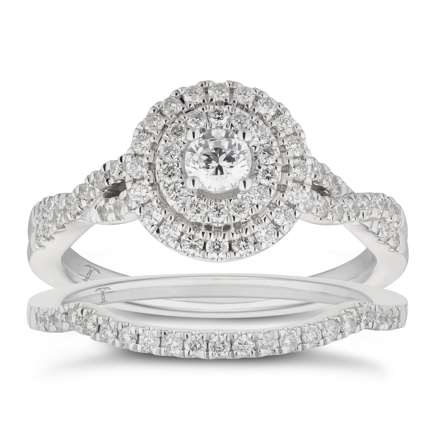 Tolkowsky 18ct White Gold 0.66ct Diamond Halo Bridal Set - Product number 5890268