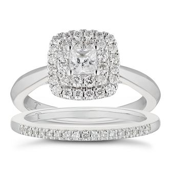 Tolkowsky 18ct White Gold 0.75ct Diamond Halo Bridal Set - Product number 5894875