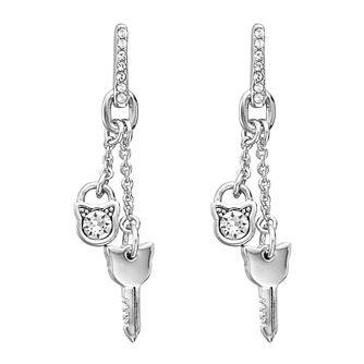 Karl Lagerfeld Rhodium Plated Cat Lock & Key Drop Earrings - Product number 5908000