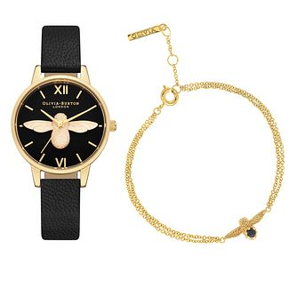 Olivia Burton Bee Motif Black Strap Watch & Bracelet Set - Product number 5912245