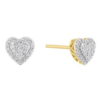 9ct Yellow Gold 1/10ct Diamond Heart Stud Earrings - Product number 5920515