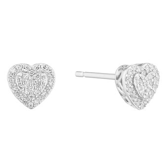 9ct White Gold 0.10ct Diamond Heart Stud Earrings - Product number 5920523