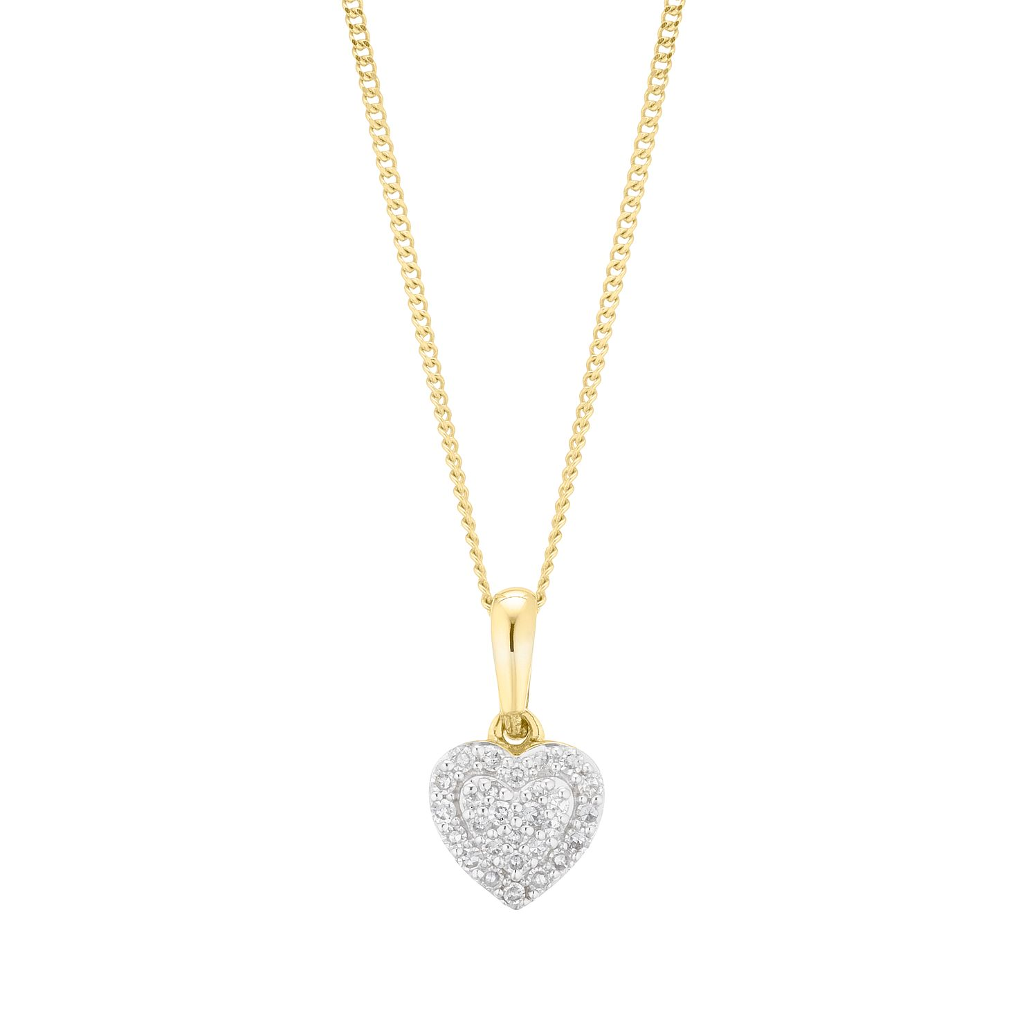 9ct Yellow Gold 0.10ct Total Diamond Heart Pendant - Product number 5920779