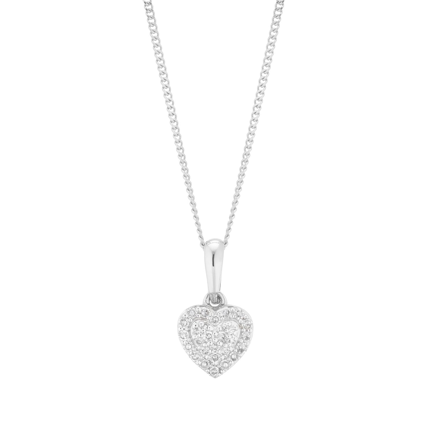 9ct White Gold 0.10ct Total Diamond Heart Pendant - Product number 5920787