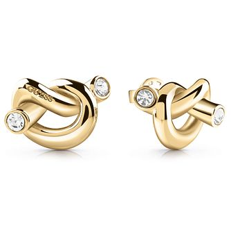 Guess Gold Tone Swarovski Crystal Knot Stud Earrings - Product number 5920868