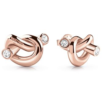 Guess Rose Gold Tone Swarovski Crystal Knot Stud Earrings - Product number 5920876