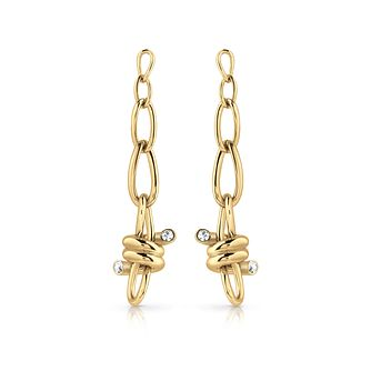 Guess Gold Tone Swarovski Crystal Twist Drop Earrings - Product number 5920884