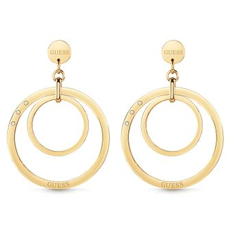 Guess Gold Tone Swarovski Crystal Circle Drop Earrings - Product number 5920892