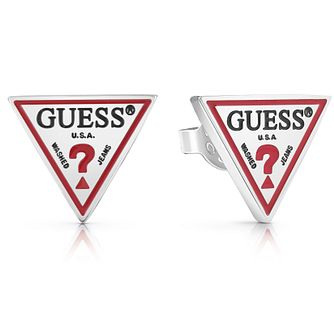 Guess Stainless Steel Triangle Logo Stud Earrings - Product number 5920981