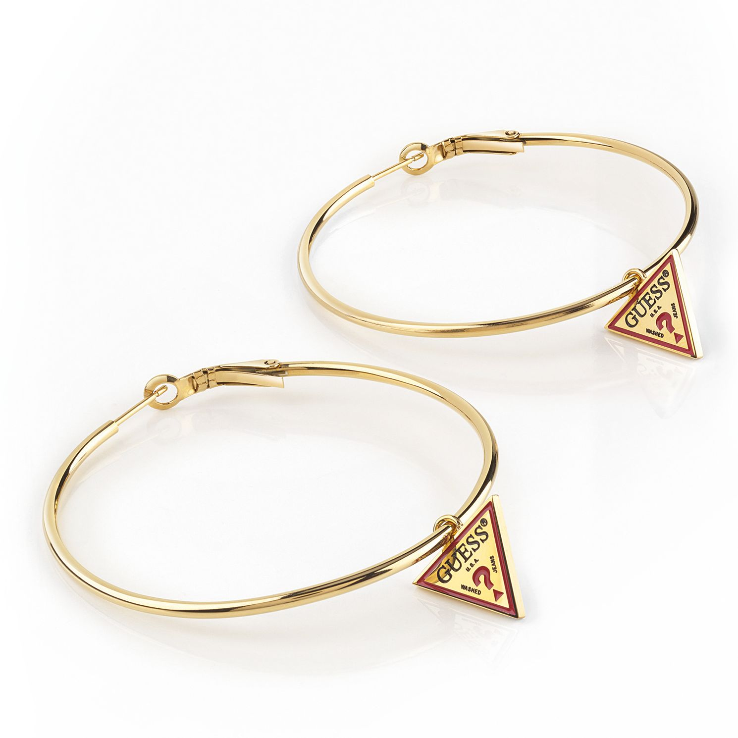 Guess Gold Tone Logo Hoop Earrings - Product number 5921244