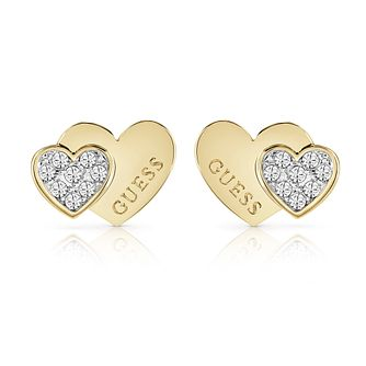 Guess Gold Tone Swarovski Crystal Heart Stud Earrings - Product number 5921252
