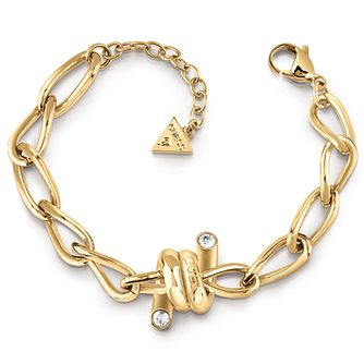 Guess Gold Tone Swarovski Crystal Twist Bracelet - Product number 5921538