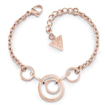 Guess Rose Gold Tone Swarovski Crystal Circle Bracelet - Product number 5921546