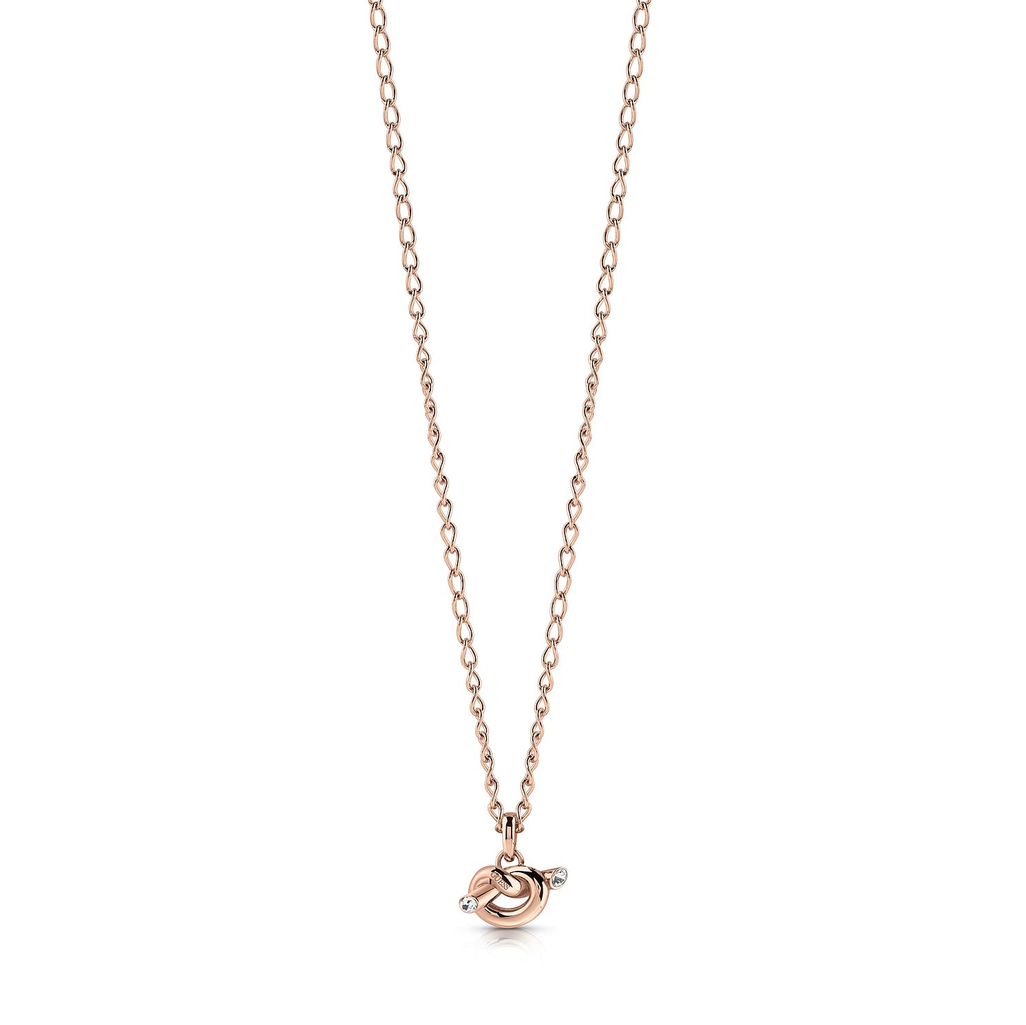 Guess Rose Gold Tone Swarovski Crystal Knot Necklace - Product number 5922216