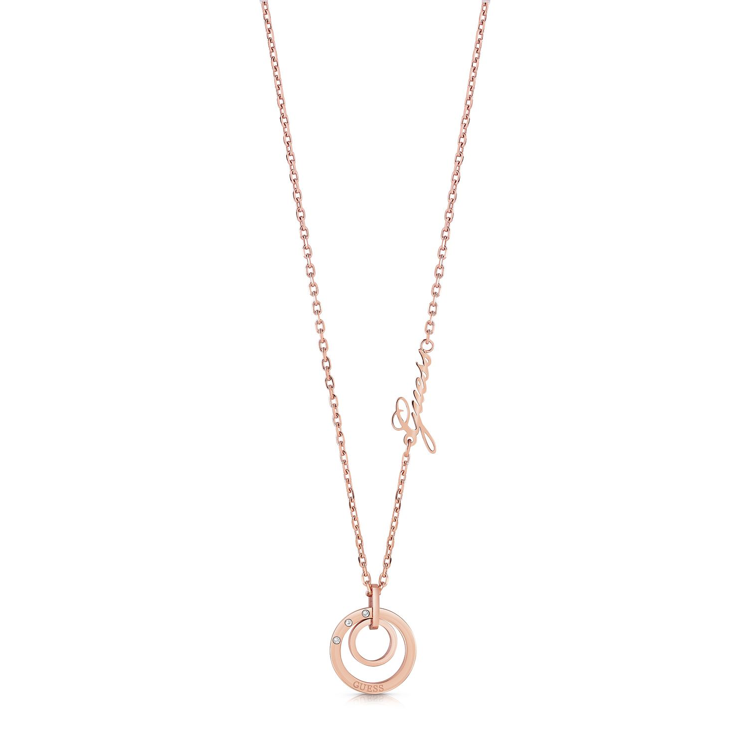 Guess Rose Gold Tone Swarovski Crystal Circle Necklace - Product number 5922321