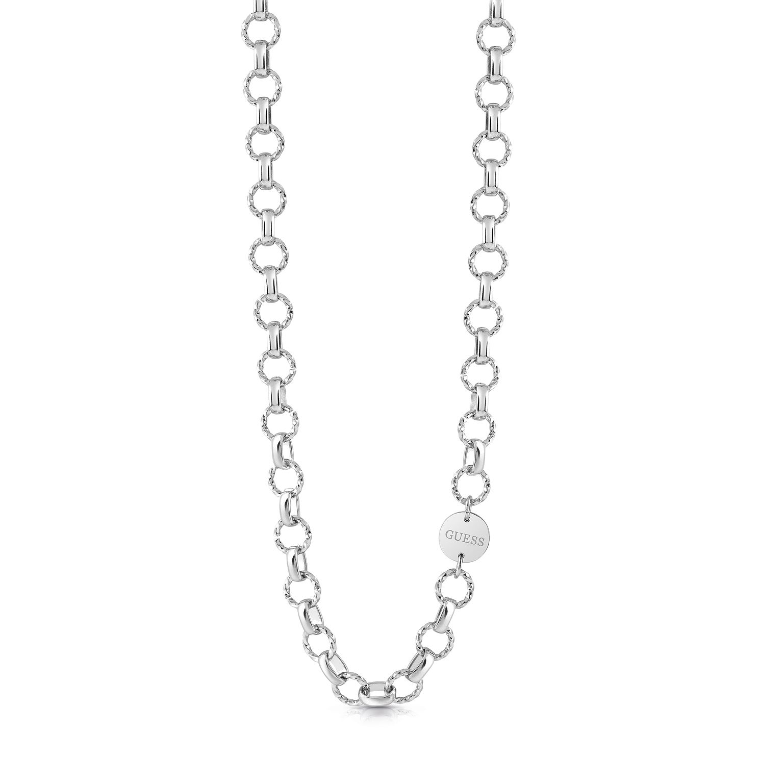 Guess Stainless Steel Round Charm Chain Necklace - Product number 5922682