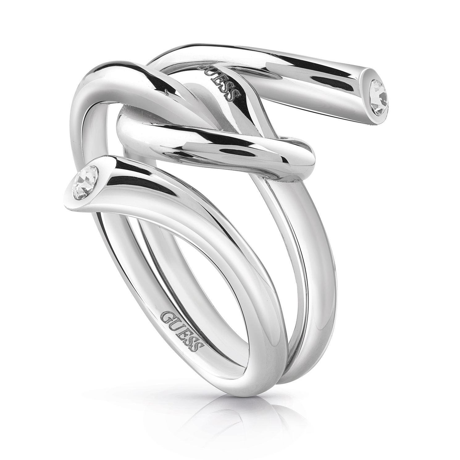 Guess Stainless Steel Swarovski Crystal Knot Ring - Product number 5922895