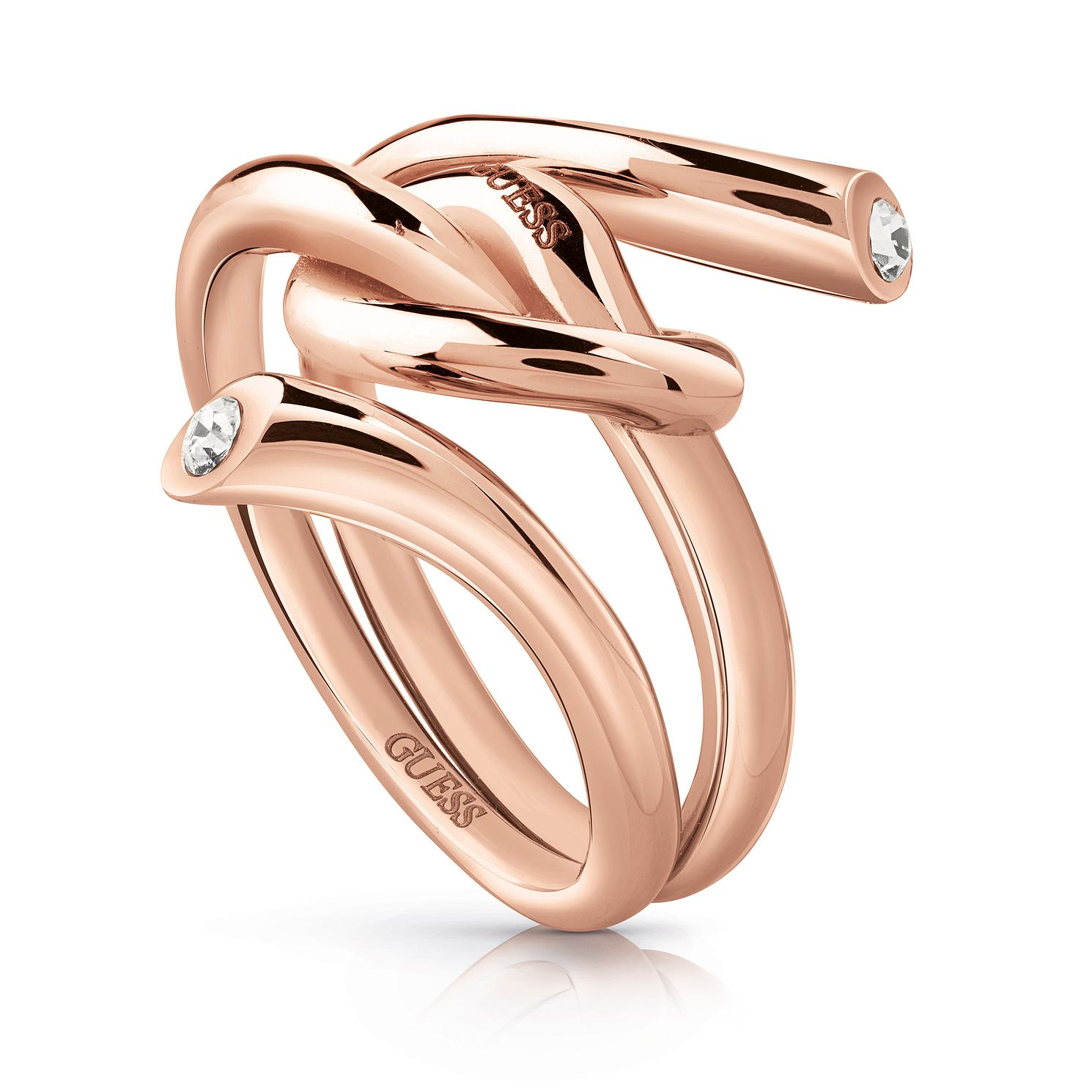 Guess Rose Gold Tone Swarovski Crystal Knot Ring - Product number 5922917