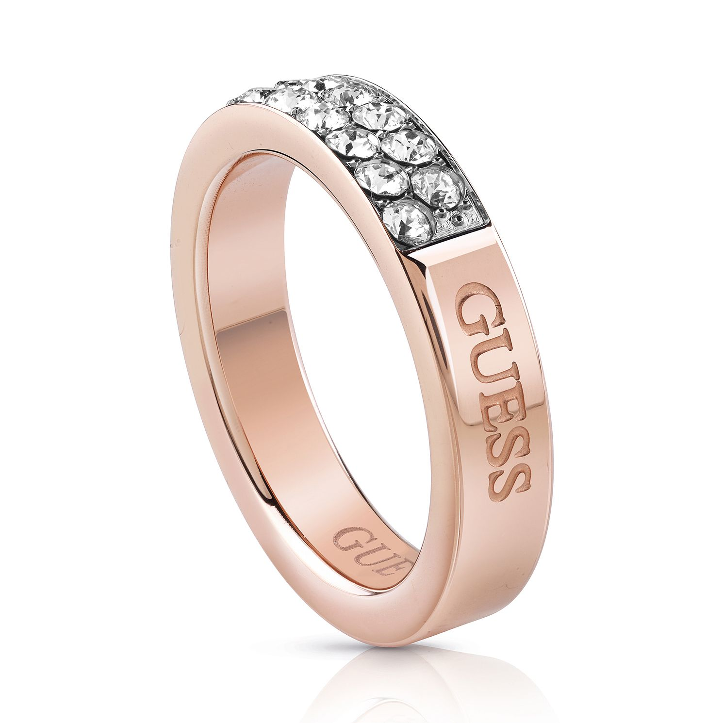 Guess Rose Gold Tone Swarovski Crystal Ring - Product number 5922976