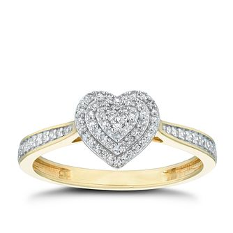 9ct Yellow Gold 1/5ct Diamond Cluster Heart Ring - Product number 5922984