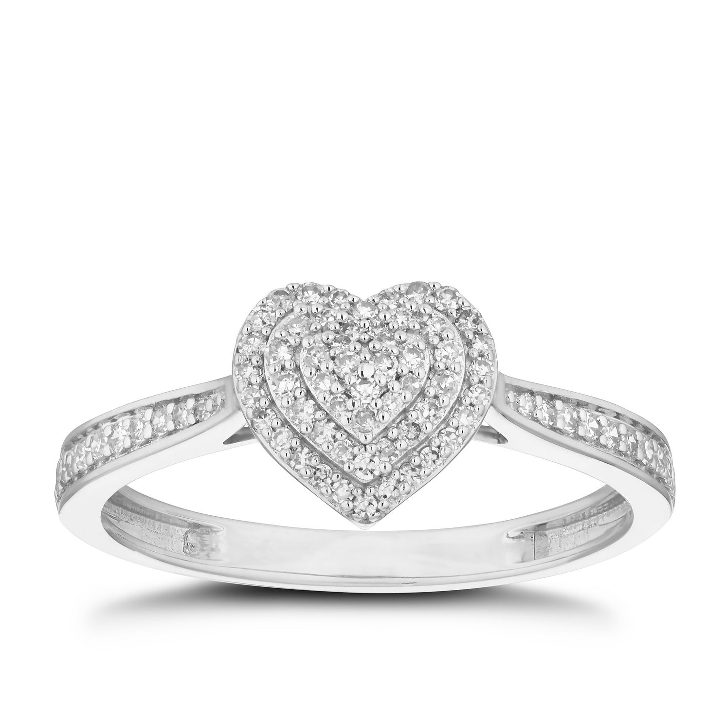 9ct White Gold 0.20ct Total Diamond Cluster Heart Ring - Product number 5923190