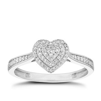 9ct White Gold 1/5ct Diamond Cluster Heart Ring - Product number 5923190