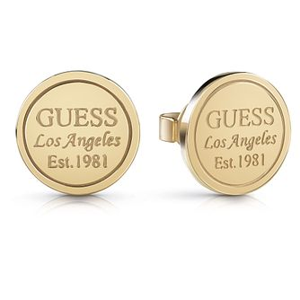 Guess Gold Tone Round Los Angeles Stud Earrings - Product number 5923441