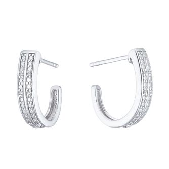 Sterling Silver Diamond Hoop Earrings - Product number 5925908