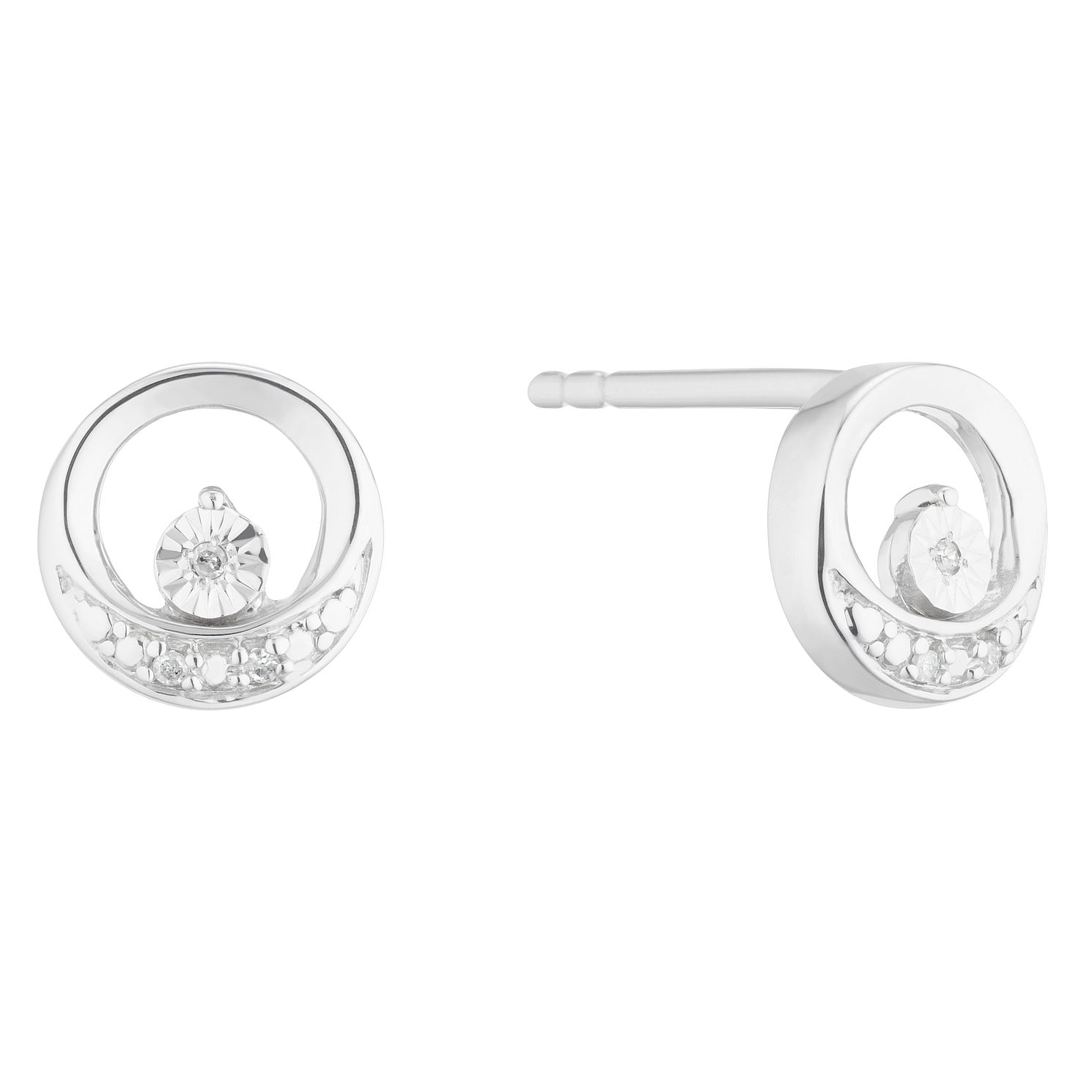 Silver Diamond Open Circle Stud Earrings - Product number 5925916