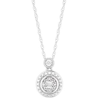 Silver Diamond Round Halo Pendant - Product number 5925940