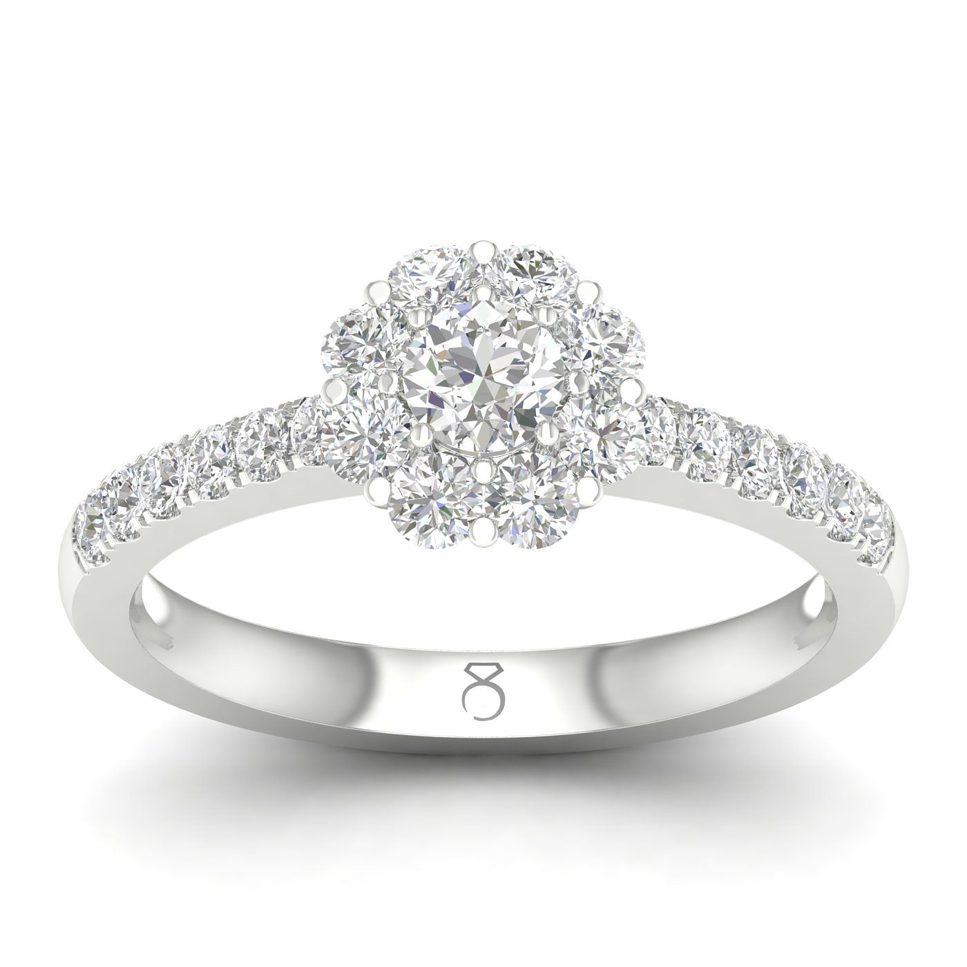 The Diamond Story Platinum 2/3ct Diamond Flower Halo Ring - Product number 5926939