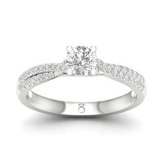 The Diamond Story Platinum 1/2ct Solitaire Twist Ring - Product number 5928680