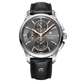 Maurice Lacroix Pontos Men's Black Leather Strap Watch - Product number 5928842