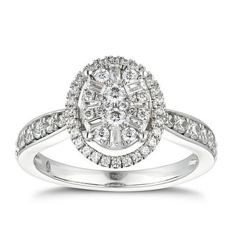 Vera Wang 18ct White Gold 0.69ct Diamond Oval Cluster Ring - Product number 5929482