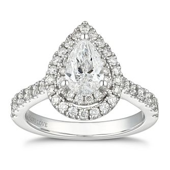 Vera Wang 18ct White Gold 1.70ct Diamond Pear Halo Ring - Product number 5929628
