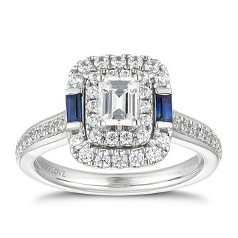 Vera Wang 18ct White Gold 0.95ct Diamond & Sapphire Ring - Product number 5929903