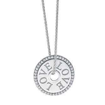 Vera Wang Sterling Silver 0.11ct Diamond Token LOVE Pendant - Product number 5930030