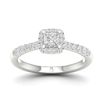 The Diamond Story 18ct White Gold 0.62ct Princess Halo Ring - Product number 5930596