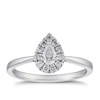 18ct White Gold 1/3ct Diamond Pear Halo Ring - Product number 5931495
