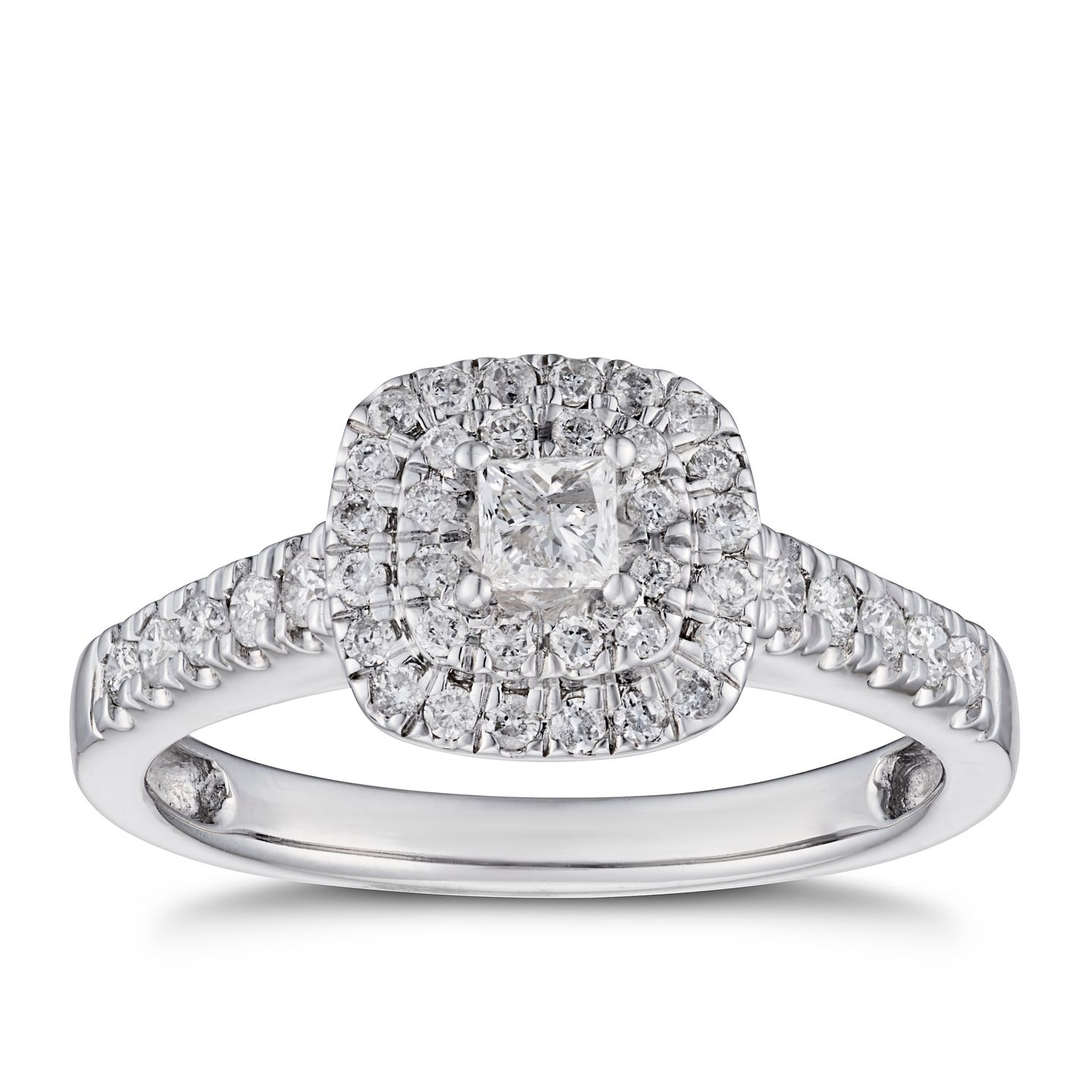 18ct White Gold 1/2ct Diamond Princess Double Halo Ring - Product number 5932734