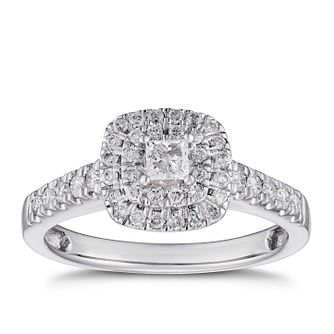 18ct White Gold 0.50ct Total Diamond Princess Halo Ring - Product number 5932734