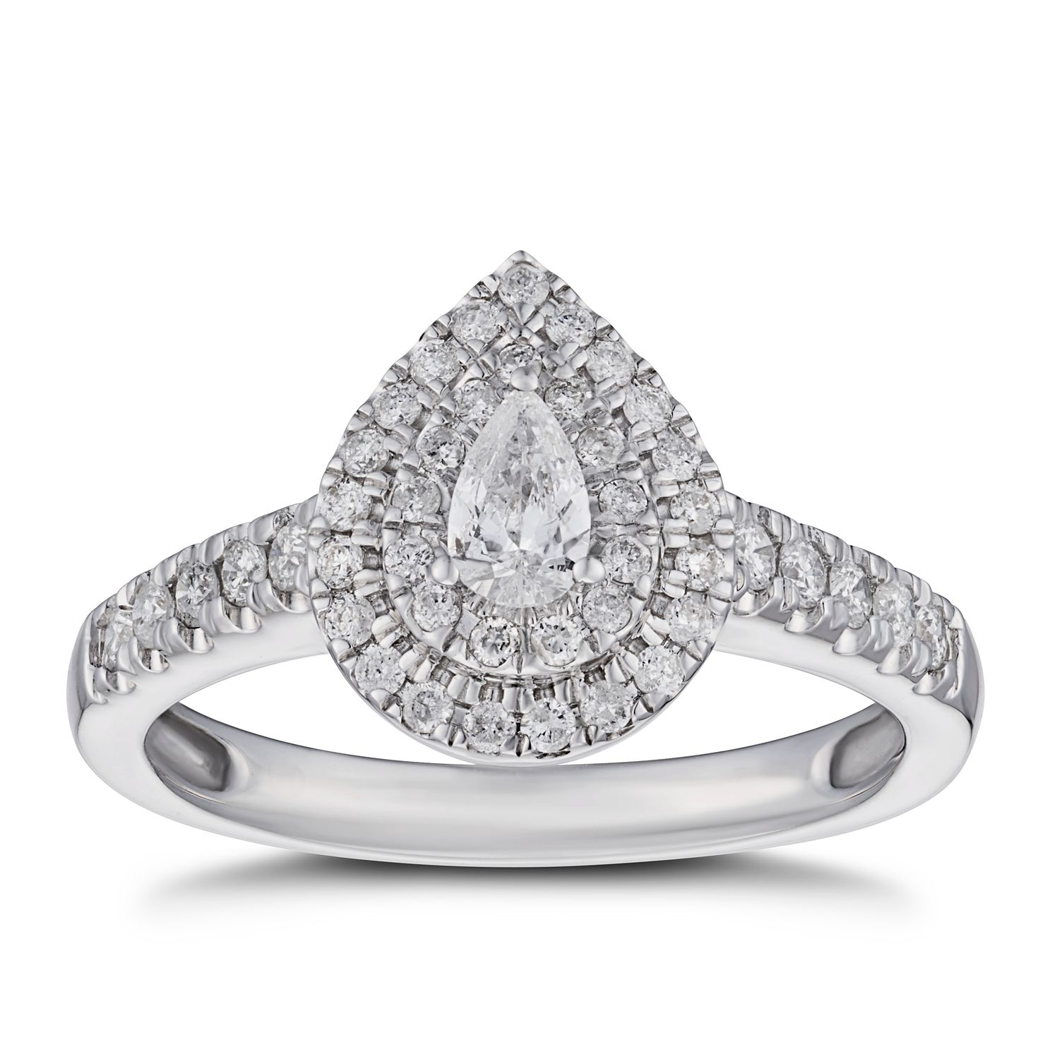 18ct White Gold 1/2ct Diamond Pear Double Halo Ring - Product number 5932866