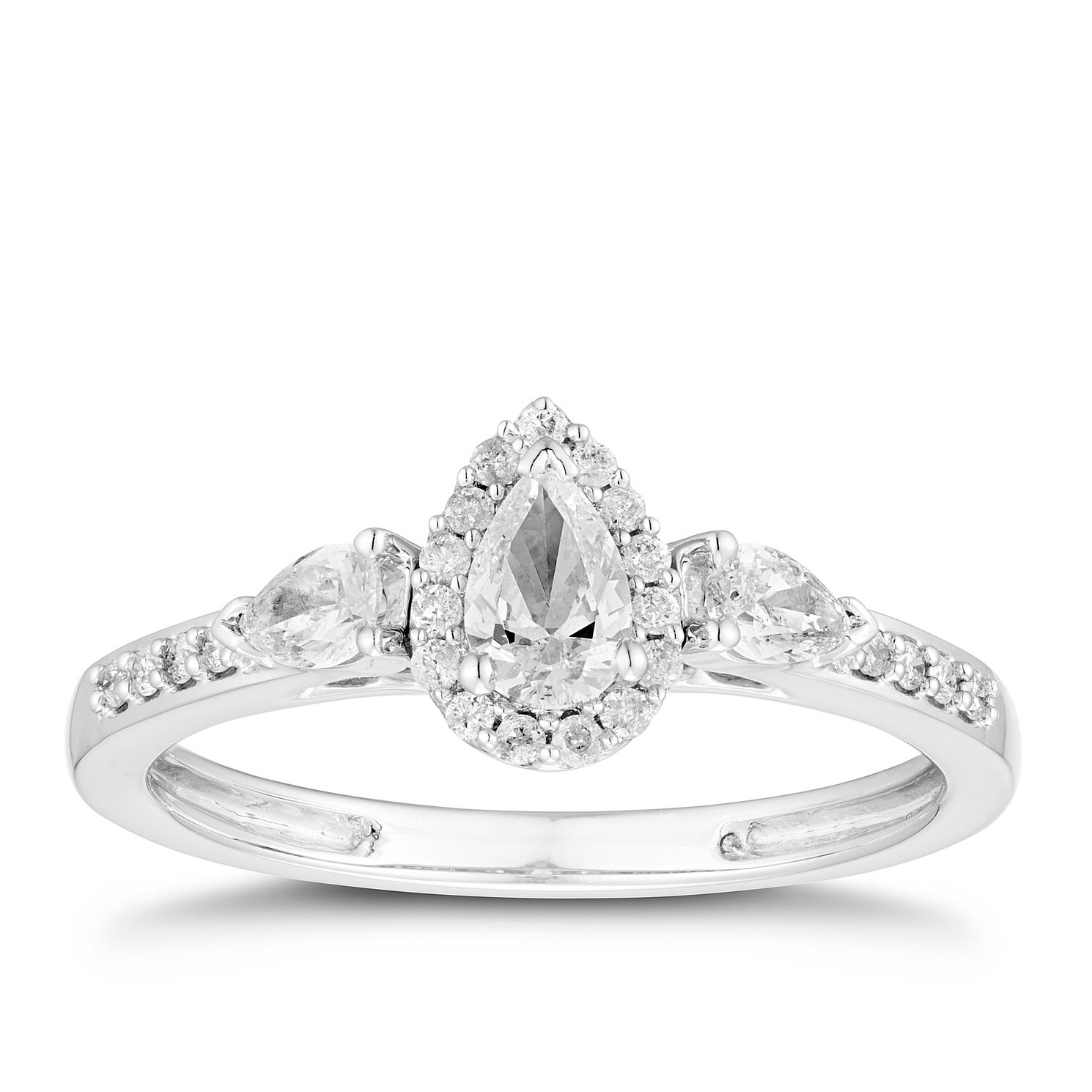 18ct White Gold 1/2ct Diamond Pear Halo Ring - Product number 5933153