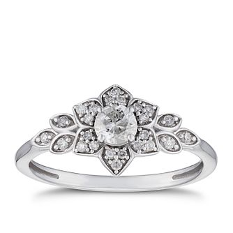 9ct White Gold 1/3ct Diamond Flower Solitaire Ring - Product number 5935474