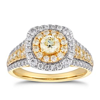 18ct Yellow Gold 1.25ct Yellow Diamond Double Halo Ring - Product number 5936276