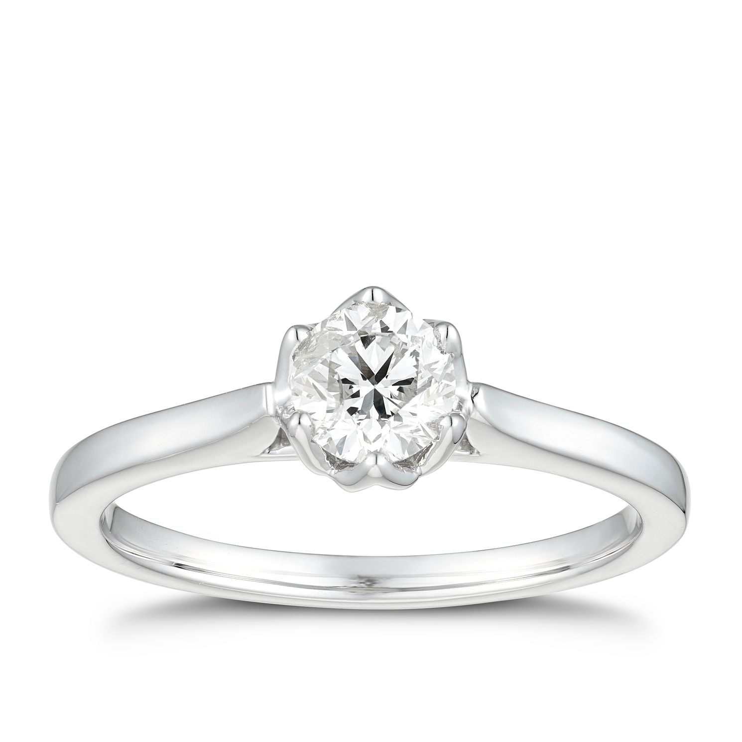 18ct White Gold 1/2ct Diamond Solitaire Flower Ring - Product number 5938171
