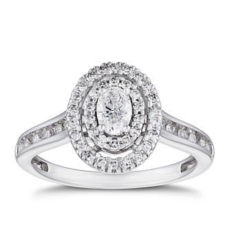 18ct White Gold 1/2ct Diamond Oval Double Halo Ring - Product number 5938376