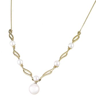 9ct Gold Diamond And Freshwater Cultured Pearl Necklace - Product number 5938635