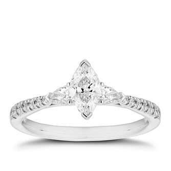 18ct White Gold 2/3ct Diamond Mix Cut Ring - Product number 5940664