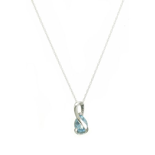 9ct white gold blue topaz wrapover pendant - Product number 5942071